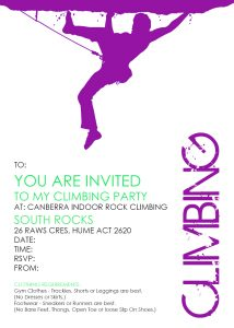 Image for the Party Invitation - Canberra Indoor Rock Climbing - Hume
