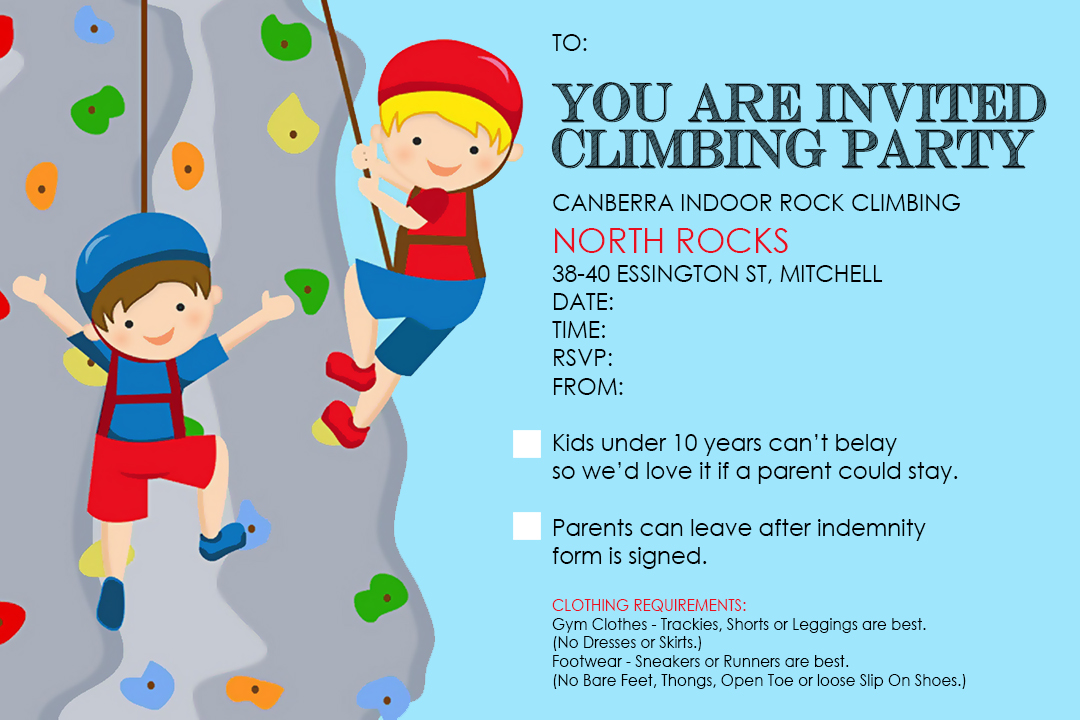 Party Invitations Canberra Indoor Rock Climbing