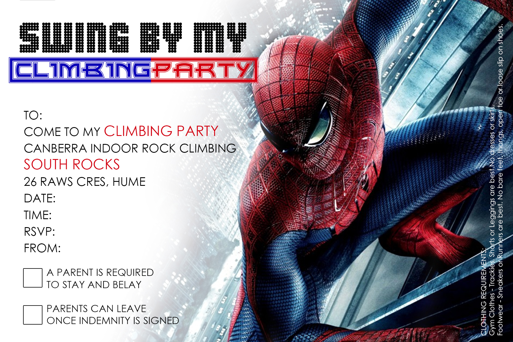 Invitation To Climbing Party Spiderman Hume Canberra Indoor Rock