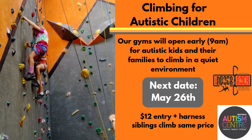 A photo of two young children climbing in our gym. Image text advertises May 26th as the next date for our Autism Access Mornings.