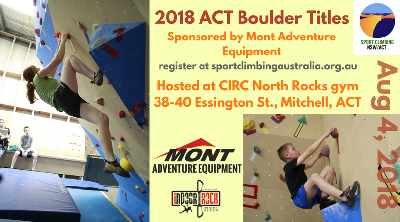 Promotion for 2018 ACT Boulder Titles sponsored by Mont