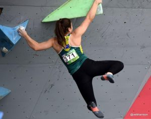 Lanie Sterrett competes in a national climbing competition.