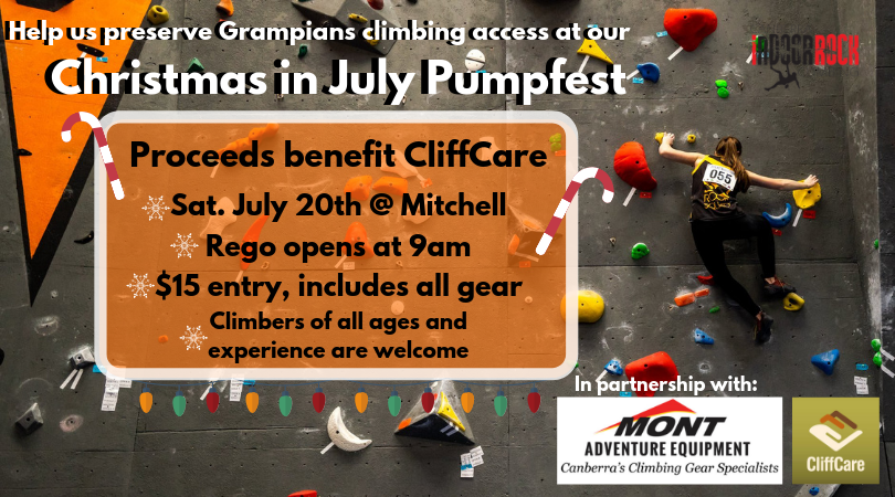 "An image of a climber bouldering on a climbing wall during a competition. Image text reads: ""Help us preserve Grampians climbing access at our Christmas in July Pumpfest. Proceeds benefit CliffCare. Saturday July 20th @ Mitchell, rego opens at 9am, $15 entry, includes all gear, climbers of all ages and experience are welcome."" Text is decorated with snowflakes, candy canes, and Christmas lights."