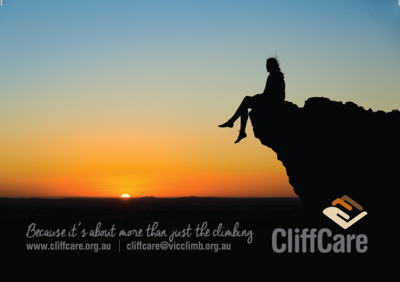 """An image showing the silhouette of a person sitting on the edge of a cliff, watching an orange sunset. Image text reads: """"Because it's about more than just the climbing."""" CliffCare's logo is in the bottom right corner of the image."""
