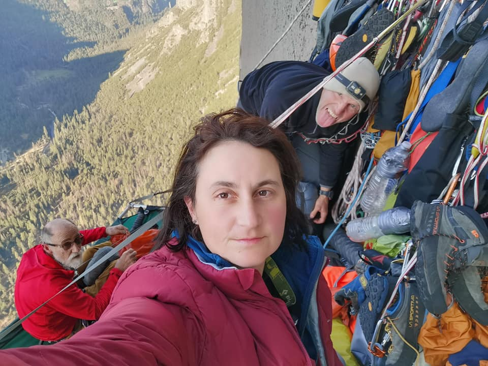 A selfie of Cait, Greg, and Peter hanging out on portaledges together on the side of El Cap.
