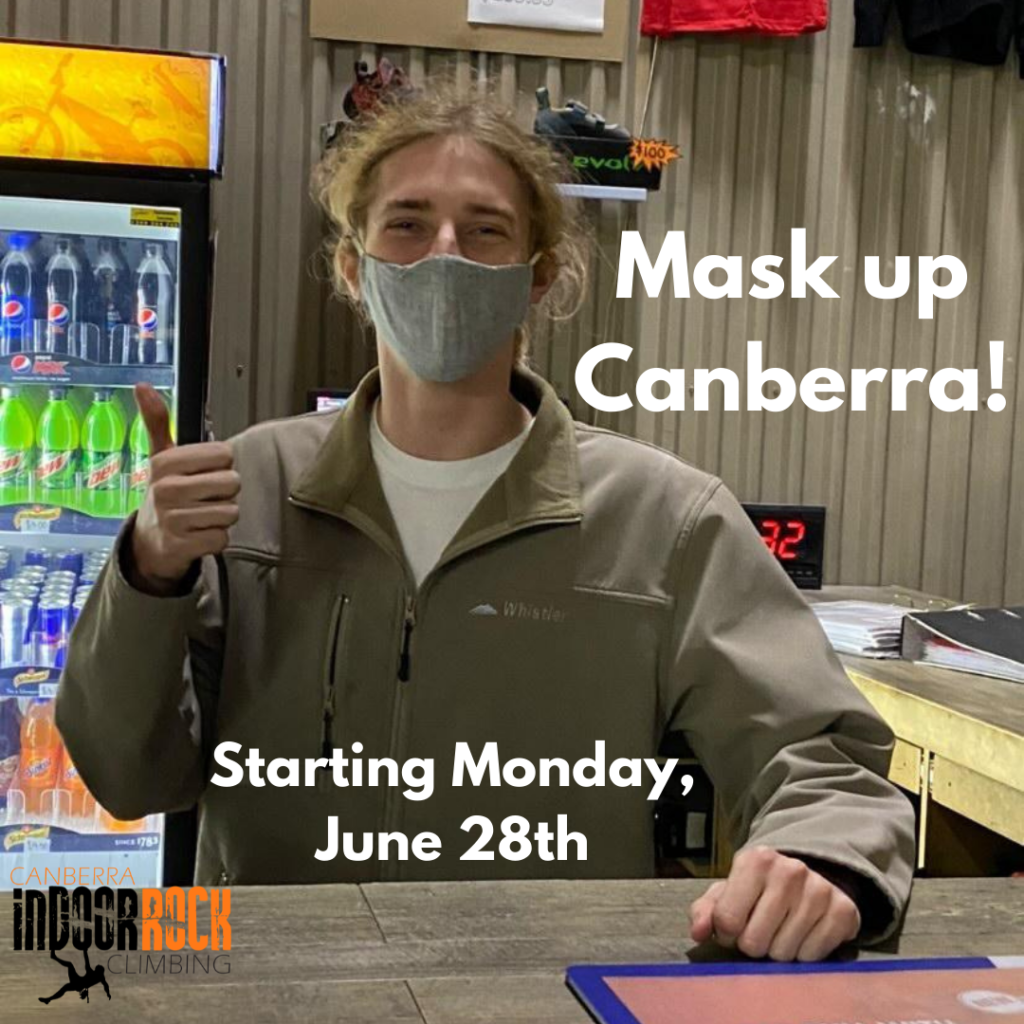 """A photo of one of our staff members standing at the front desk holding a thumbs up. Image text reads: """"Mask up Canberra! Starting Monday June 28th."""""""